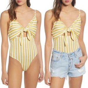 NWT BP Knot Front Cutout Bodysuit Yellow & Ivory